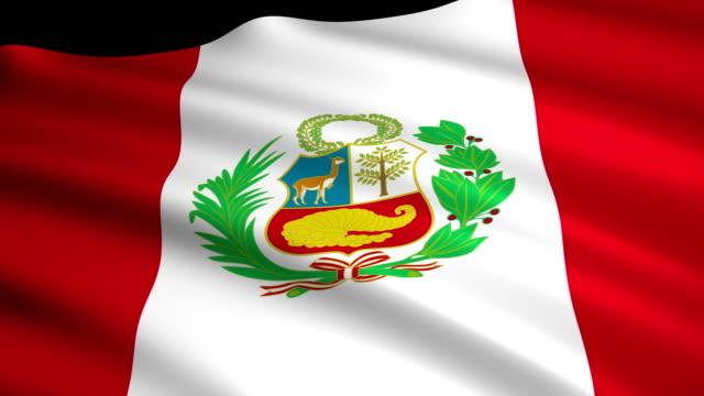 Render 3D de bandera de Perú - vídeo