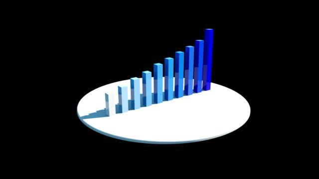 3D Rendering Growing Bar Chart, Blue Gradient Bar Chart, Financial Concept