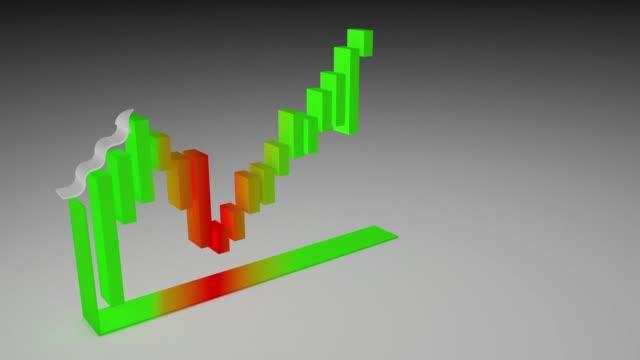 3D Rendering Growing Bar Chart, Financial Concept