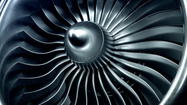 3D Rendering jet engine, close-up view jet engine blades. 4k animation