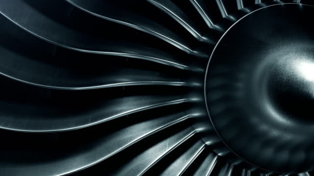 3D Rendering jet engine, close-up view jet engine blades. 4k animation video