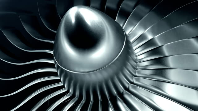 3D Rendering jet engine, close-up view jet engine blades. 4k animation 3D Rendering jet engine, close-up view jet engine blades. Blue tint. 4k animation turbine stock videos & royalty-free footage