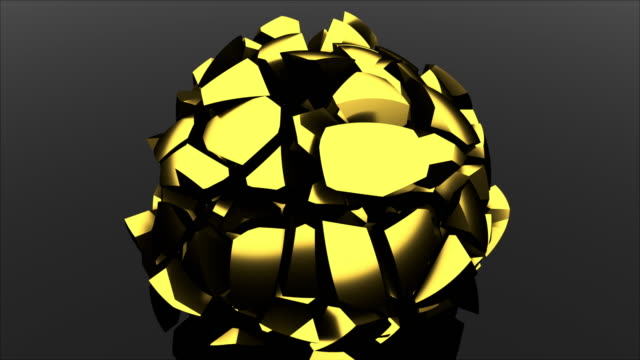 3D rendering modern background. Computer generated glass black ball falls and destructions into shards