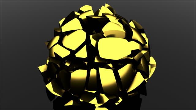 stockvideo's en b-roll-footage met 3d die moderne achtergrond rendert. computer geproduceerde glas zwarte bal valt en vernielingen in scherven - halsketting