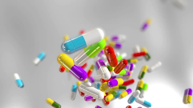 3D rendering multicolored medical pills video