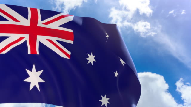 3D rendering of Australia flag waving on blue sky background with Alpha channel video