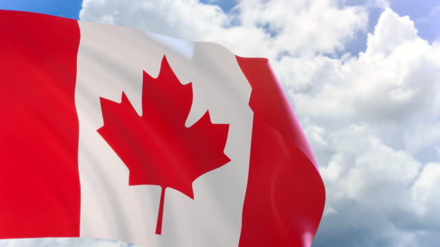 3D rendering of Canada flag waving on blue sky background video