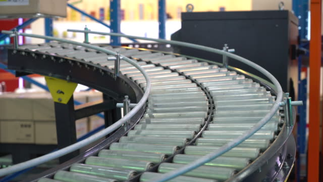rendering of Cardboard boxes on a conveyor belt video