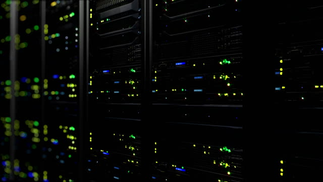 3D rendering of data servers with flashing LEDs. Cyclic animation of data servers 3D rendering of dark modern working data servers with flashing LED lights. Data servers loopable animation network server stock videos & royalty-free footage