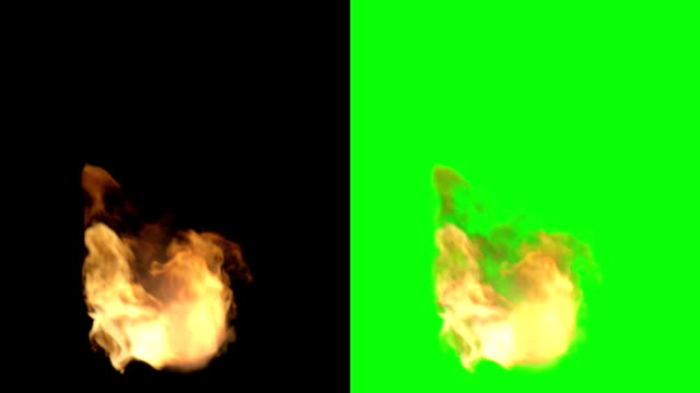 3D Rendering of Fire flames on a black background and on Green screen video