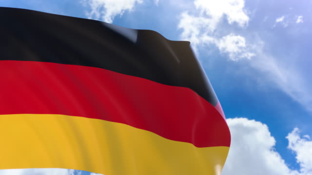 3D rendering of Germany flag waving on blue sky background with Alpha channel video