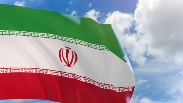 3D rendering of Iran flag waving on blue sky background with Alpha channel video