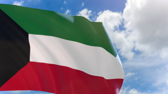 3D rendering of Kuwait flag waving on blue sky background with Alpha channel video