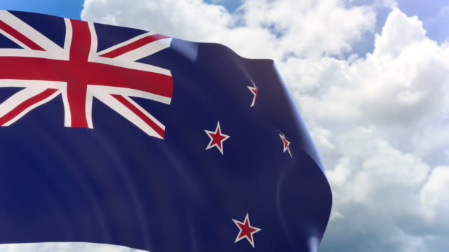 3D rendering of New Zealand flag waving on blue sky with Alpha channel video