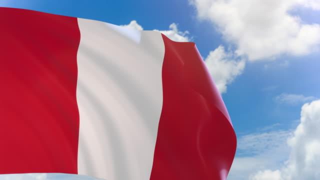 Render 3D de bandera de Perú ondeando sobre fondo de cielo azul con canal alfa - vídeo