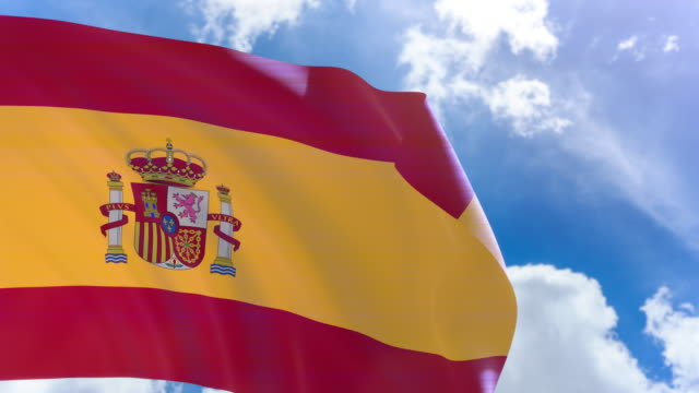 3D rendering of Spain flag waving on blue sky background with Alpha channel video