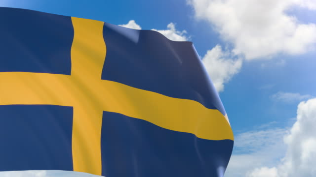 3D rendering of Sweden flag waving on blue sky background with Alpha channel video