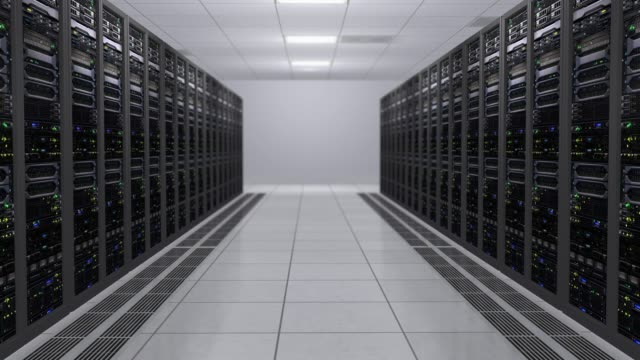 3D rendering of the server room with working computers of data servers with flashing LEDs