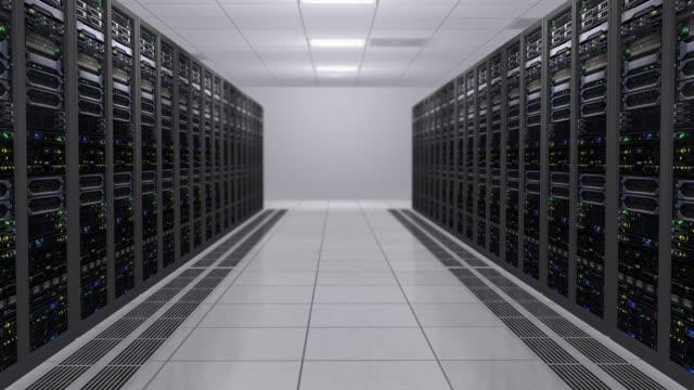 led の点滅とデータ サーバーの作業のコンピューターとサーバー ルームの 3 d レンダリング - スーパーコンピューター点の映像素材/bロール