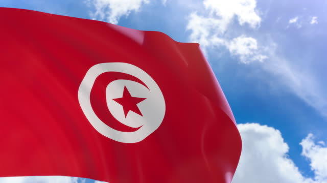 3D rendering of Tunisia flag waving on blue sky background with Alpha channel video