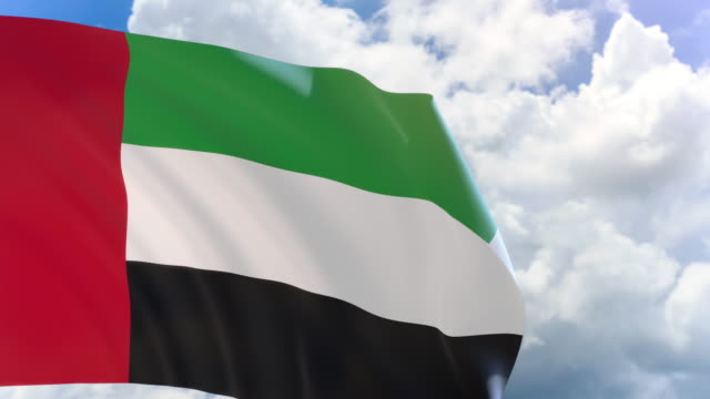 3D rendering of UAE flag waving on blue sky background with Alpha channel video