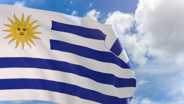 3D rendering of Uruguay flag waving on blue sky background with Alpha channel video