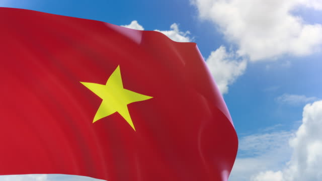 3D rendering of Vietnam flag waving on blue sky background with Alpha channel video
