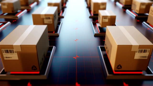 4k 3d rendering packages are transported in high-tech settings,online shopping,concept of automatic logistics management. - ai stock videos & royalty-free footage