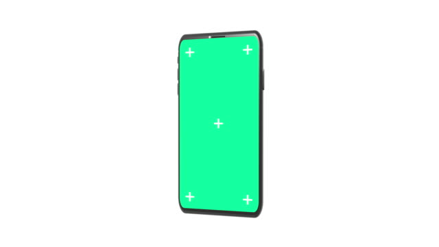3D Rendering Smartphone with Motion Tracking Points and Green Screen for chroma key Rotating on White Background. Seamless loop.