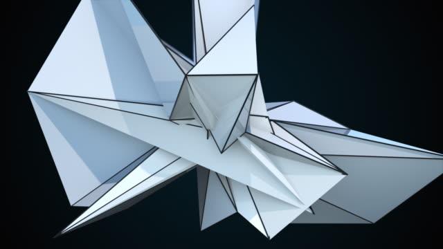 黒、コンピュータ生成抽象的な現代の背景にスパイキーなフラクタル形状をレンダリングする3dレンダリング - 尖っている点の映像素材/bロール