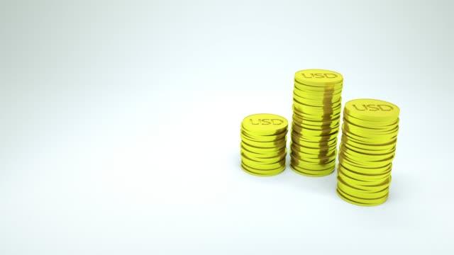vídeos y material grabado en eventos de stock de renderizado en 3d contando moneda usd sobre fondo blanco, concepto financiero - prosperidad