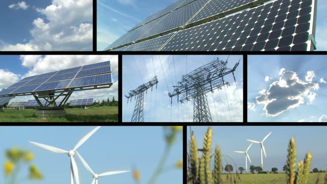 montaggio di energia rinnovabile e - energia sostenibile video stock e b–roll
