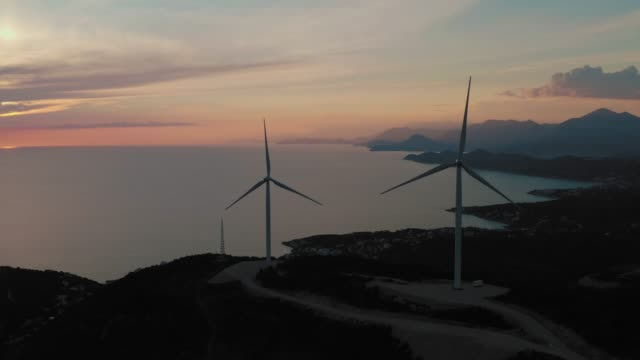 Renewable energy sources. Windmills. Aerial video.