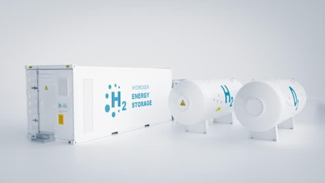 erneuerbare energiespeicherung - wasserstoffgas zur sauberen elektrizitätsanlage auf weißem hintergrund. 3d-rendering. - wasserstoff stock-videos und b-roll-filmmaterial