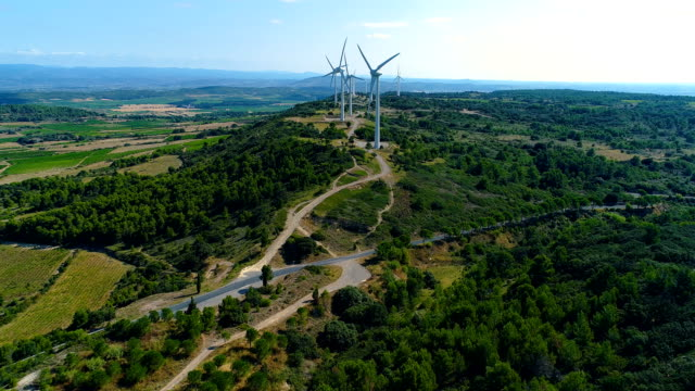 Renewable energy, wind turbines in fields and forest under the sun - aerial view