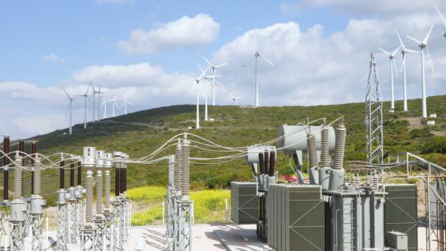 förnybar grön energi - power transformatorstation och vindkraftverk - generator bildbanksvideor och videomaterial från bakom kulisserna