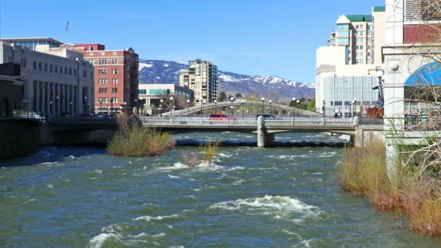 reno along the truckee river - nevada video stock e b–roll