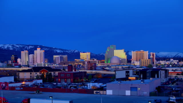 reno night to day 4k time lapse, nv - nevada video stock e b–roll