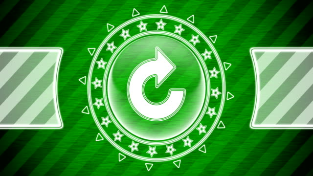 Repeat icon in circle shape and green striped background. Illustration. Looping footage. website design stock videos & royalty-free footage