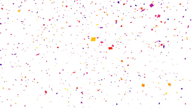 Repeatable falling colorful confetti with alpha channel 4K