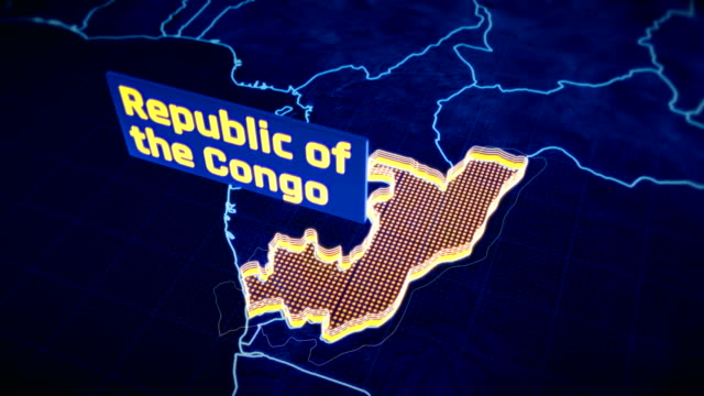 Republic of Congo country border 3D visualization, modern map outline, travel video