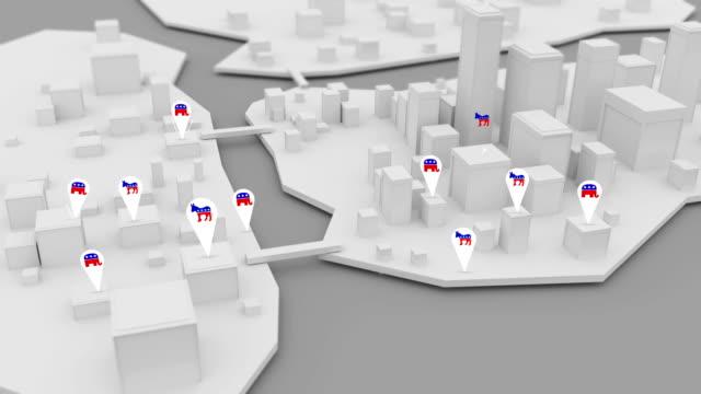 republikanische und demokratische symbole auftauchen, über 3d schlachtfeld bundesland oder stadt - politische wahl stock-videos und b-roll-filmmaterial