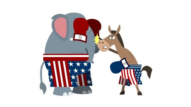 elefante repubblicano e asino democratico è boxe - colpire con un pugno video stock e b–roll