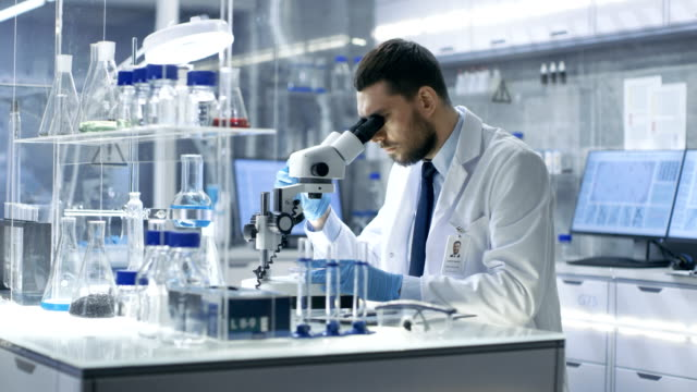 Research Scientist Looks into Microscope and Writes Down Observations. He's Conducts Experiments with His Colleagues in Modern Laboratory.
