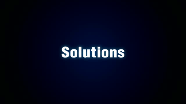 Research, Suggestion, Development, Innovation, Success, Text animation 'Solutions'