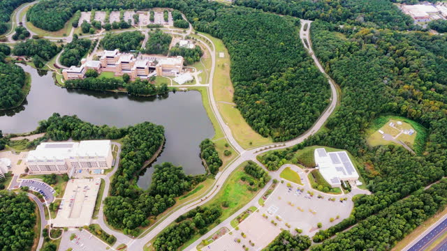 Research Triangle Park EPA and NIEHS Buildings Aerial View video