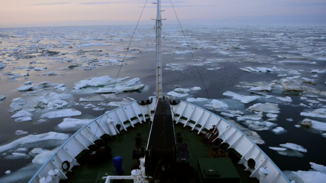 Research vessel in icy arctic sea on a sunny day Research vessel in icy arctic sea on a sunny day polar climate stock videos & royalty-free footage
