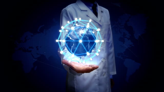 Researcher, Engineer, doctor open palm, Rotating earth, connect idea bulb icon.communication technology, network world map. video