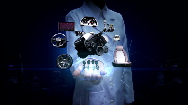 Researcher, Engineer open palm, Vehicle parts,Engine, seat, Instrument panel, navigation, Accelerator pedal, audio system, tires, future car technology. video
