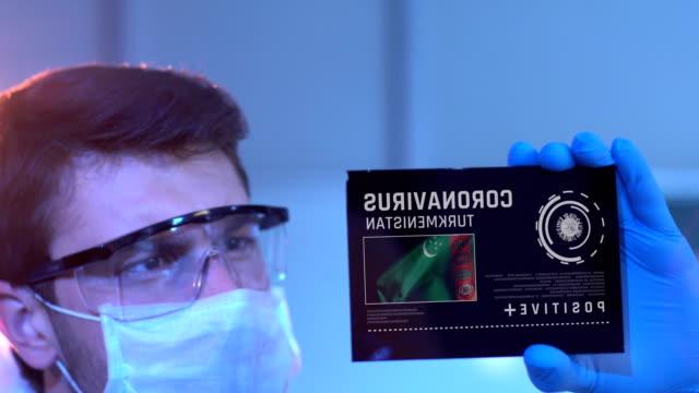 Researcher Looking at Coronavirus Results of Turkmenistan. Turkmenistan Flag on Digital Screen in Laboratory 4K, 29.97 fps, Researcher Looking at digital screen. Turkmenistan Flag and Coronavirus Word on Digital Screen. turkmenistan stock videos & royalty-free footage